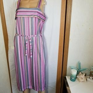 Vintage 1980s pink striped spring midi dress L 12